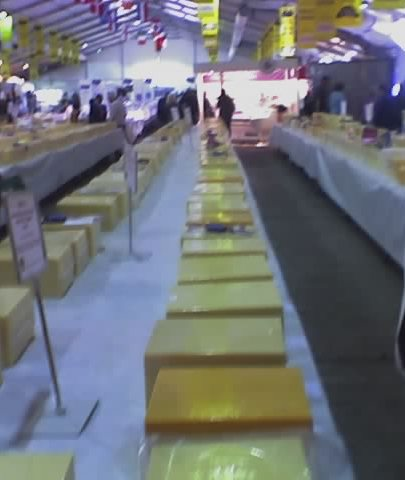 cheeses on display at the International Cheese Show, Nantwich